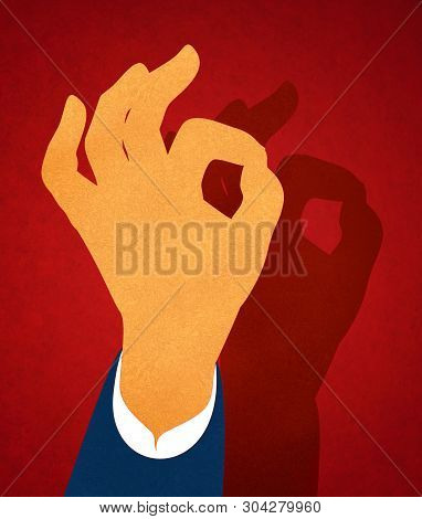 Illustration Of Hand Making The Ok Symbol Hand Gesture, A Non-verbal Communication Often Used In Pol