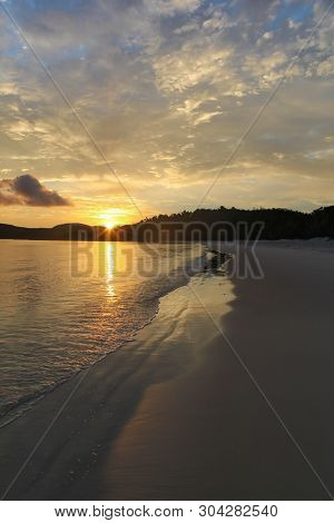 Sunrise On The Famous Whitehaven Beach On Whitsunday Island In Queensland. This Beach Is One Of The