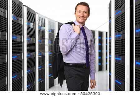 3d image of datacenter with lots of server and happy worker