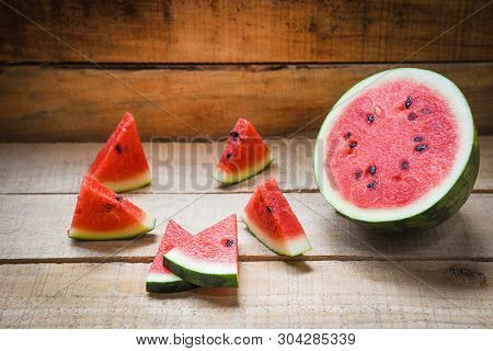 Watermelon Slice Summer Fruit / Fresh Red Watermelon On Wooden Background