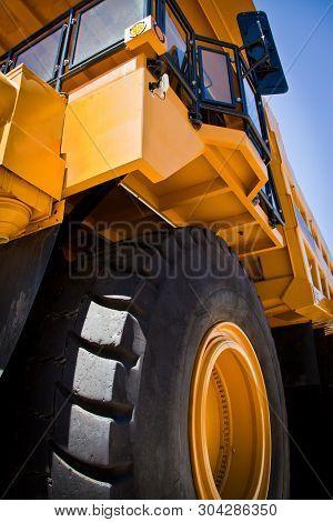 Large Yellow Truck Used In Modern Gold Mine In Kalgoorlie, Western Australia. Truck Transports Gold