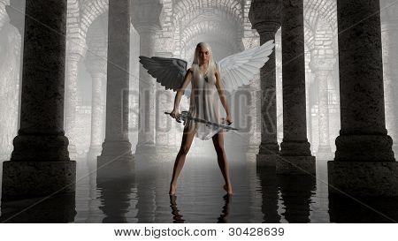 warrior angel in dark chamber