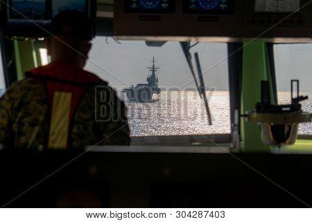 Htms Chakri Naruebet (cvt-911) Aircraft Carrier Of Royal Thai Navy Anchors At Andaman Sea View Form