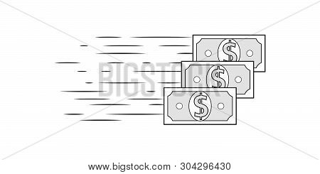 Dollar Money Cash Icon Isolated On White Background. Flat Banknotes Design For Online Payment, Bank