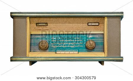 Vintage Radio Receiver - Antique Wooden Box Radio Isolate On White With Clipping Path For Object, Re
