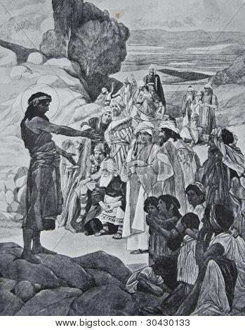 "F.Urban - ""Preaching of John the Baptist."" Illustration from ""Niva"" magazine, publishing house A.F. Marx, St. Petersburg, Russia, 1913"
