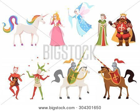 Fairy Tales Characters. Wizard Knight Queen King Princess Prince Medieval Fairy Castle Dragon Magic