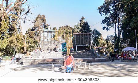 Chowrasta, Darjeeling, West Bengal, India - December 2018: The Beautiful Darjeeling Mall In One Cold