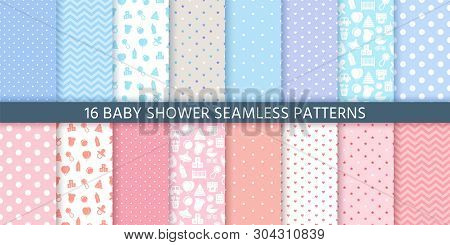 Baby Pattern Seamless. Baby Girl And Boy Shower Backgrounds. Vector. Set Blue Pink Pastel Patterns F