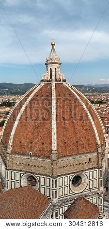 Florence. Italy - September 12, 2018: The Brunelleschi Dome Is The Dome Of The Cathedral Of Santa Ma