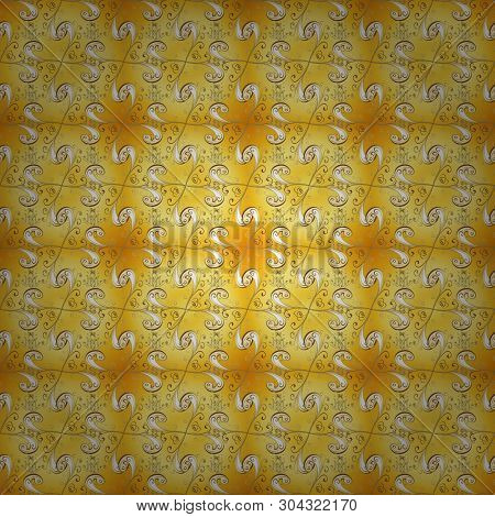 Gold Metal With Floral Pattern. Seamless Golden Pattern. Yellow And Beige Colors With Golden Element