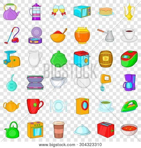 Household Icons Set. Cartoon Style Of 36 Household Vector Icons For Web For Any Design