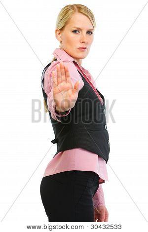 Woman Employee Showing Stop Gesture