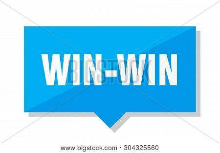 Win-win Blue Square Price Tag On White Background