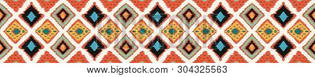 Ikat Geometric Folklore Ornament With Diamonds. Tribal Ethnic Vector Texture. Seamless Striped Patte