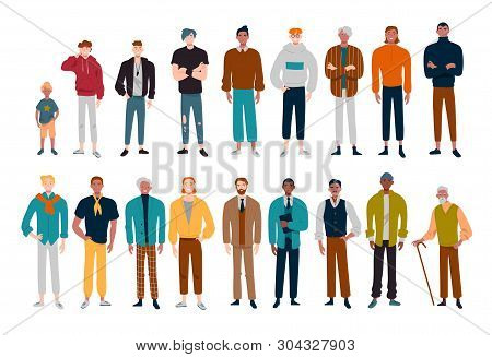 Men, Many Male Characters Of Different Ages.