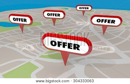 Offer Special Deal Bid Sale Map Pins Locations 3d Illustration
