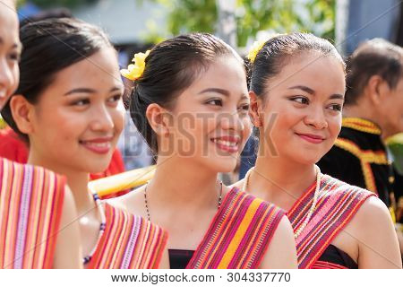 Portraits Of Kadazan Dusun Young Girls In Traditional Attire From Kota Belud District During State L
