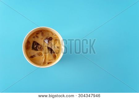 Top View Of Ice Coffee In Bamboo Cup