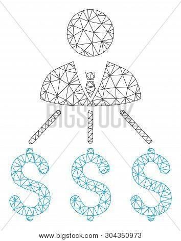 Mesh Businessman Expenses Polygonal Icon Vector Illustration. Model Is Based On Businessman Expenses