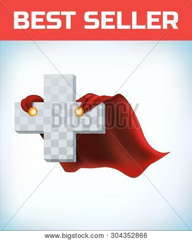 Equilateral Cross In Hero Cape. Doctor Super Cloak. Pharmacy Sign. Health Icon. Medicine Concept. He