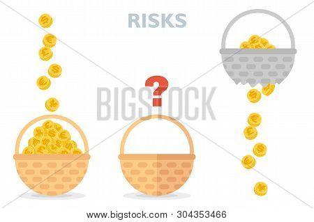 Never Put All Eggs In One Basket Vector Illustration Of Risks Diversification