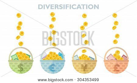 Idea Of Currency Diversification Vector Illustration With Baskets Of Coins And Banknotes Of Dollars,