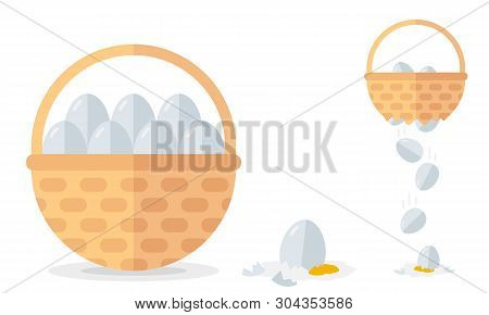 Financial Diversification Idea On Basket With Eggs Example. Never Put All Eggs In One Basket Vector