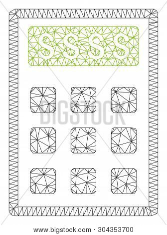 Mesh Book-keeping Calculator Polygonal Icon Vector Illustration. Carcass Model Is Created From Book-