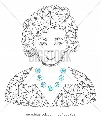 Mesh Brunette Lady Polygonal Symbol Vector Illustration. Model Is Based On Brunette Lady Flat Icon.