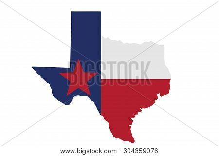 Map Of Texas In The Texas Flag Colors Isolated Over White 3d Illustration