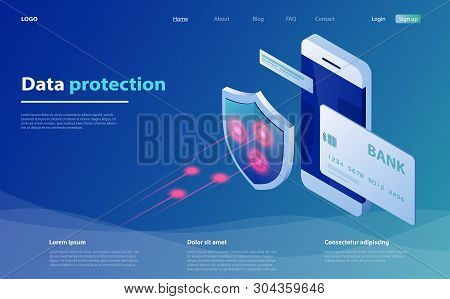 Concepts Mobile Payments. Data Protection With Smartphone And Shield. Credit Card Check And Software