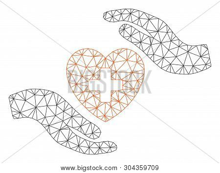 Mesh Cardiology Care Hands Polygonal Icon Vector Illustration. Model Is Based On Cardiology Care Han