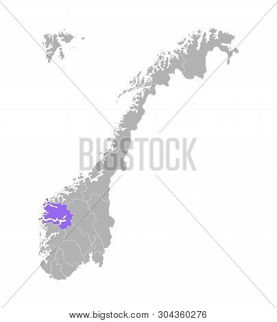 Vector Isolated Simplified Illustration With Grey Silhouette Of Norway, Violet Contour Of Sogn Og Fj