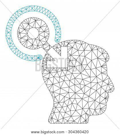 Mesh Brain Interface Plug-in Polygonal Icon Vector Illustration. Model Is Created From Brain Interfa