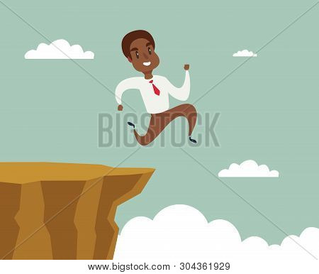 Black African American Businessman Running And Jump Over Cliff Gap To Success, Overcome The Difficul