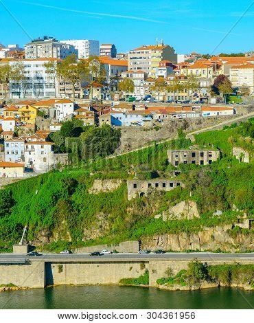 View Of Porto Architecure By Douro River In Bright Sunny Day, Portugal
