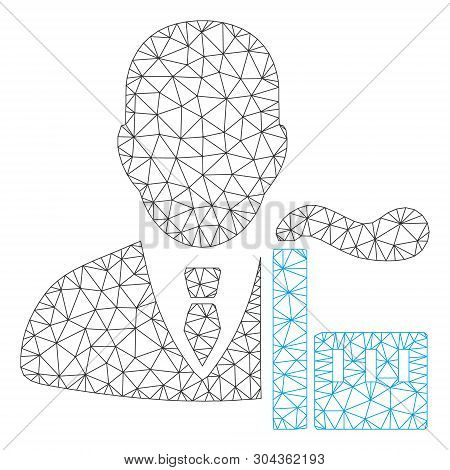 Mesh Capitalist Oligarch Polygonal Icon Vector Illustration. Carcass Model Is Based On Capitalist Ol