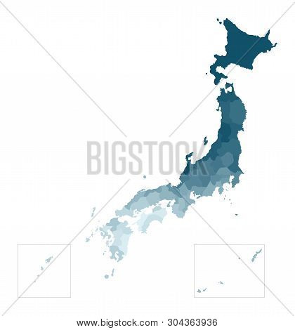 Vector Isolated Illustration Of Simplified Administrative Map Of Japan. Borders Of The Prefectures.