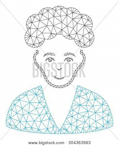 Mesh Brunette Boy Polygonal 2d Vector Illustration. Carcass Model Is Based On Brunette Boy Flat Icon