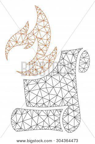 Mesh Burn Manuscript Polygonal Symbol Vector Illustration. Model Is Based On Burn Manuscript Flat Ic