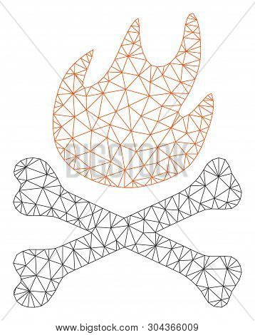 Mesh Bones Hell Fire Polygonal Icon Vector Illustration. Abstraction Is Based On Bones Hell Fire Fla