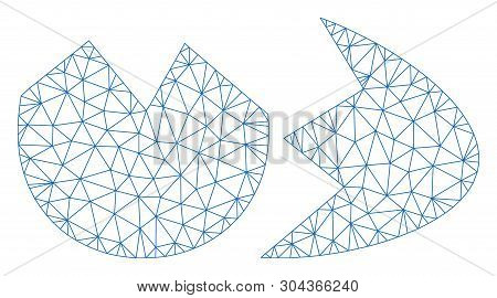 Mesh Broken Eggshell Polygonal 2d Vector Illustration. Model Is Based On Broken Eggshell Flat Icon.