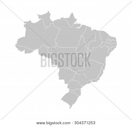 Vector Isolated Illustration Of Simplified Administrative Map Of Brazil. Borders Of The Provinces (r