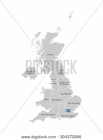 Vector Isolated Illustration Of Simplified Administrative Map Of The United Kingdom (uk). Blue Shape