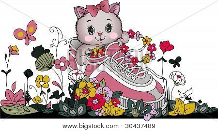 Image representing a Kitten in tennis with flowers, isolated on white, vector design. poster