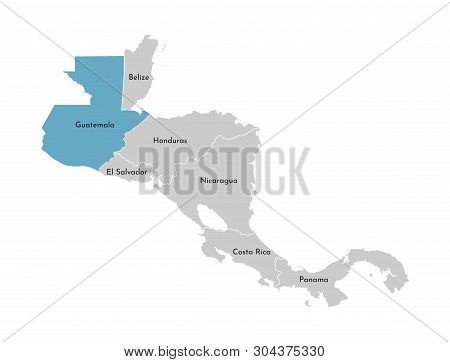 Vector Illustration With Simplified Map Of Central America Region With Blue Contour Of Guatemala. Gr
