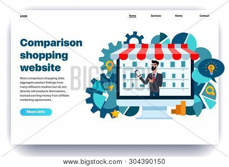 Web Page Flat Design Template For Comparison Shopping With The Seller. Business Landing Page Online