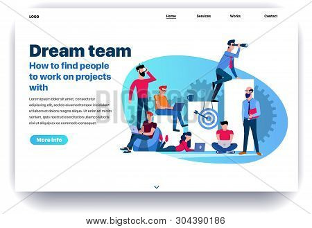 Web Page Flat Design Template For Dream Team. Business Landing Page Findings Your Own Dream Team To