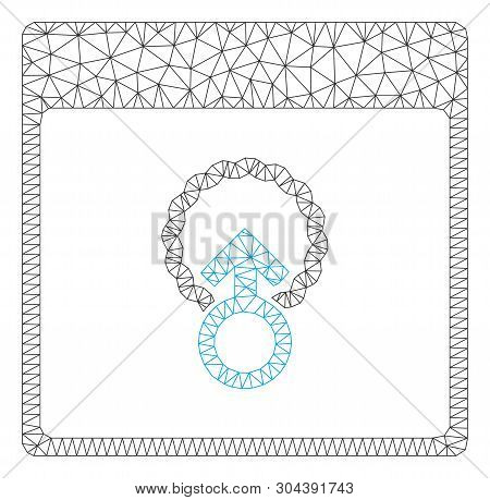 Mesh Cell Penetration Calendar Page Polygonal Icon Vector Illustration. Carcass Model Is Based On Ce